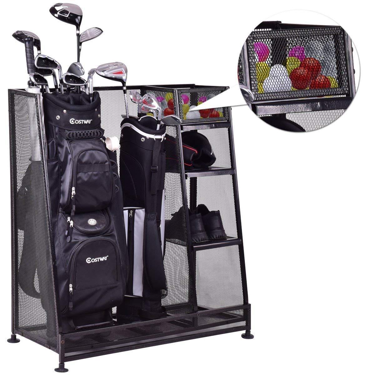 Tangkula Golf Organizer Durable Metal Storage Rack Golf Club Bag and Sports Equipment Organizer by Tangkula