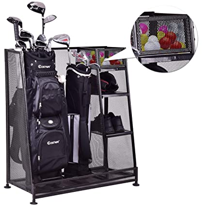 Merveilleux Amazon.com : Tangkula Golf Organizer Durable Metal Storage Rack Golf Club  Bag And Sports Equipment Organizer : Sports U0026 Outdoors