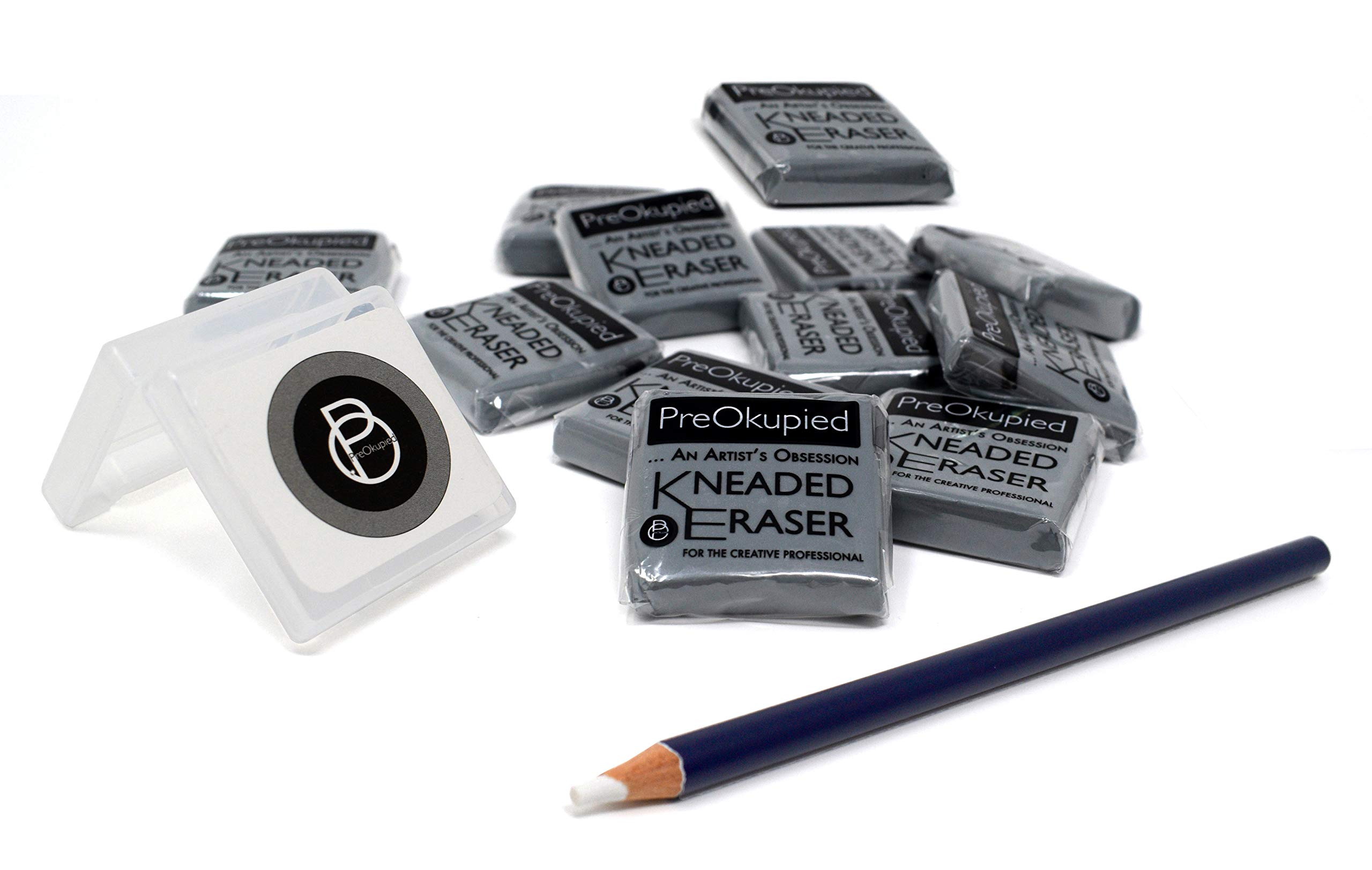 PreOkupied 12 Pack of Kneaded Art Erasers, Gray Putty Rubber, 1.5 x 1.5 x 0.375 Inches per Eraser, Including 1 Eraser Case and 1 Eraser Pencil by PreOkupied