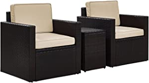 Crosley Furniture KO70055BR-SA Palm Harbor Outdoor Wicker 3-Piece Seating Set (2 Arm Chairs and Side Table), Brown with Sand Cushions