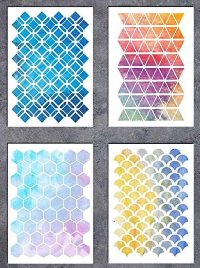 GSS Designs Patterns Stencil Template Set(4 Pack), Hexagon Triangles Fish  Scale Oriental A5(6x8.25 Inch) , Art Painting for Card Making Canvas