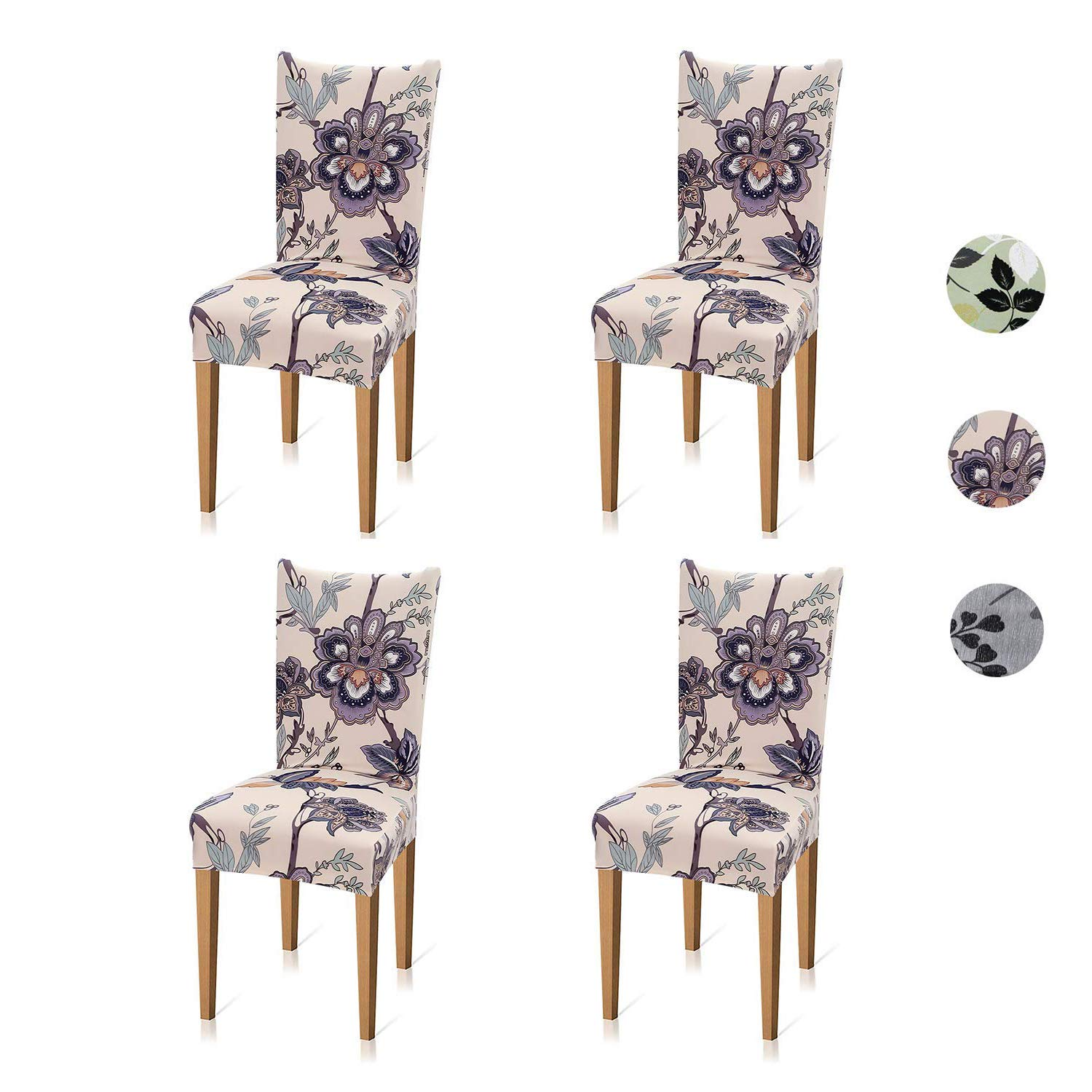 Xflyee Stretch Dining Room Chair Covers Jacquard Removable Washable Kitchen Parson Slipcovers Set Of 4 A Pack