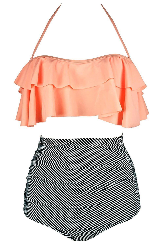 Aleumdr Womens Halter Ruched High-Waisted Bikini Swimsuit Orange Strips M 8 10