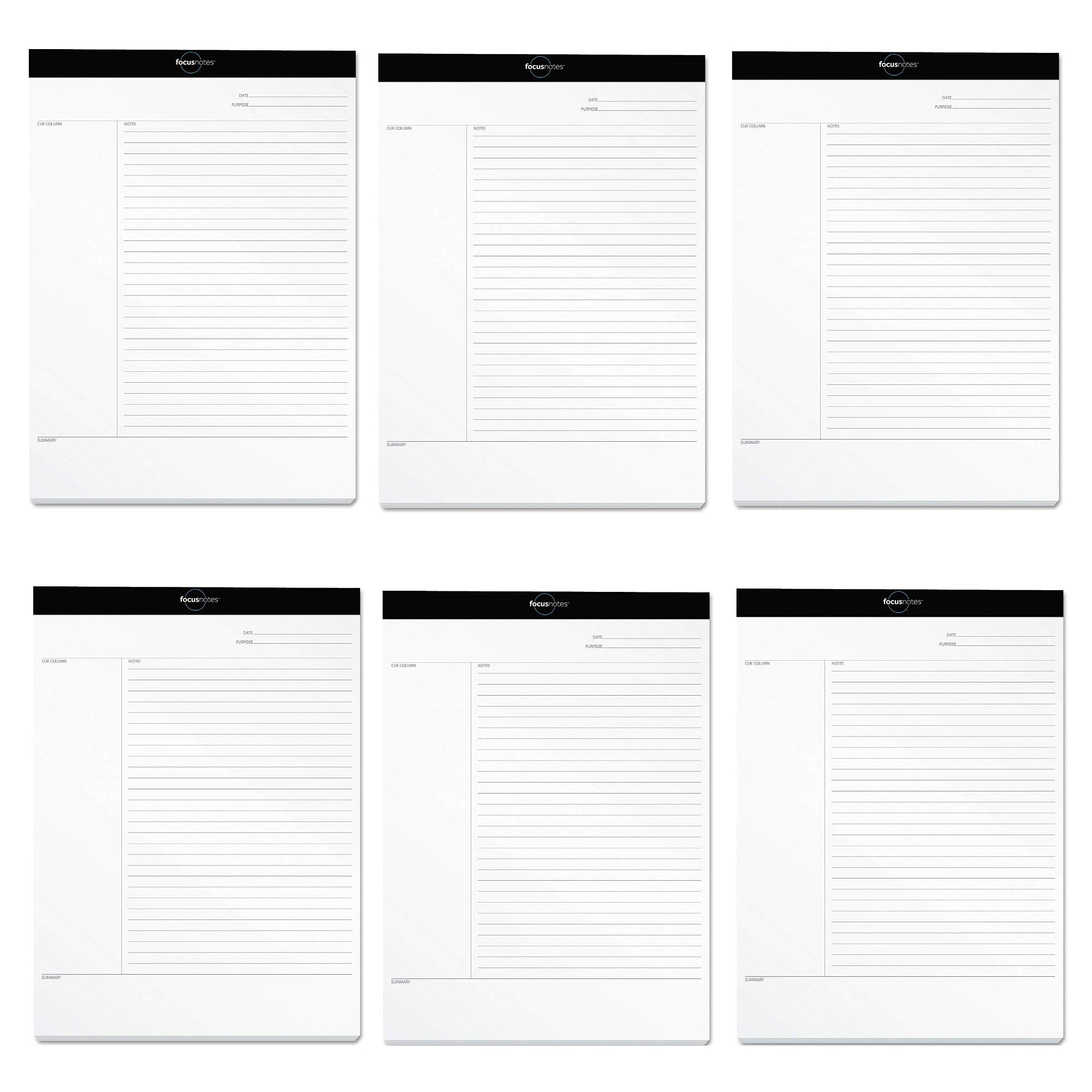 TOPS FocusNotes Note Taking System Legal Pad, 8-1/2 x 11-3/4 Inches, White, 50 Sheets (77103) - 6 PACK by TOPS