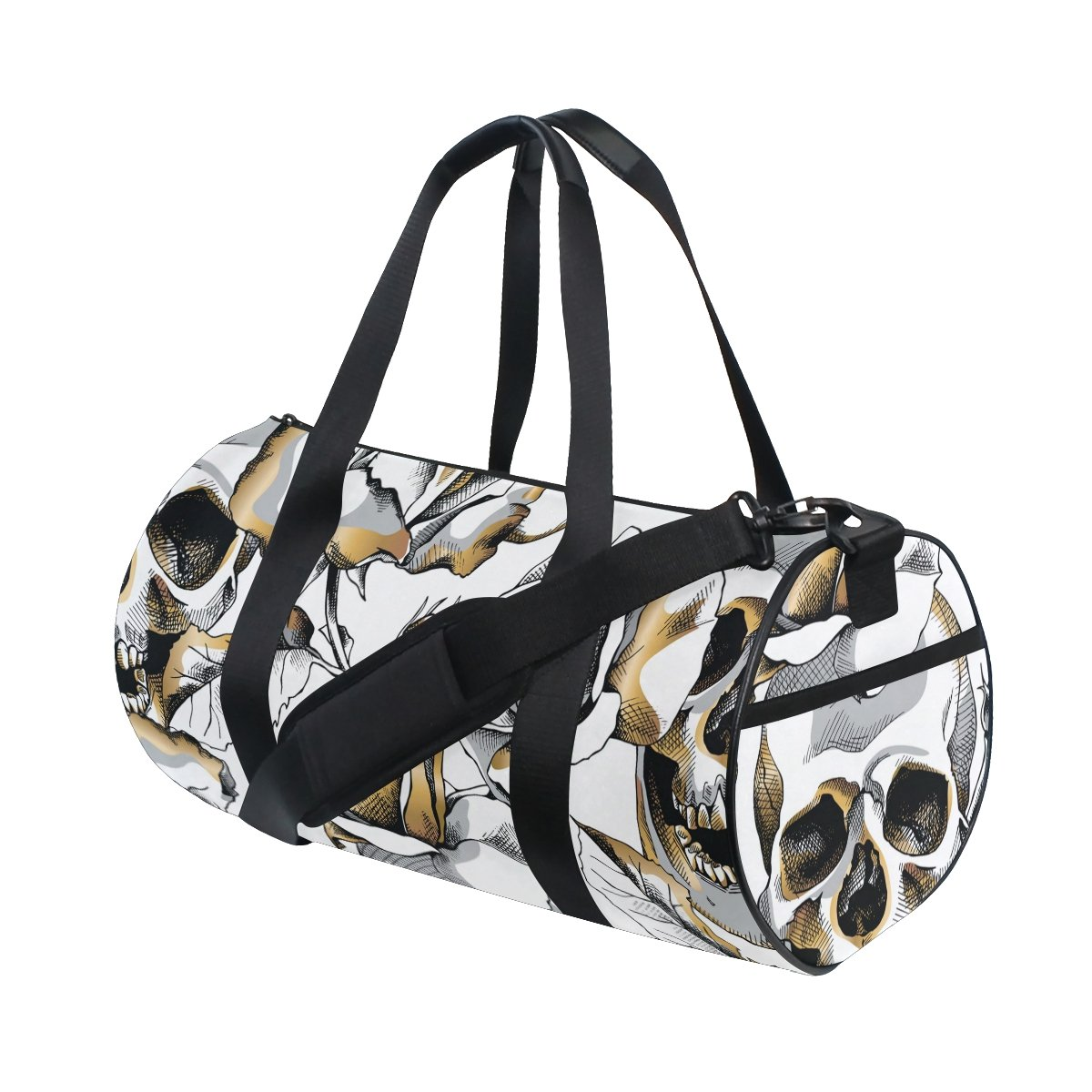 Naanle Gold Skull And Rose Flower Day Of The Dead Gym bag Sports Travel Duffle Bags for Men Women Boys Girls Kids