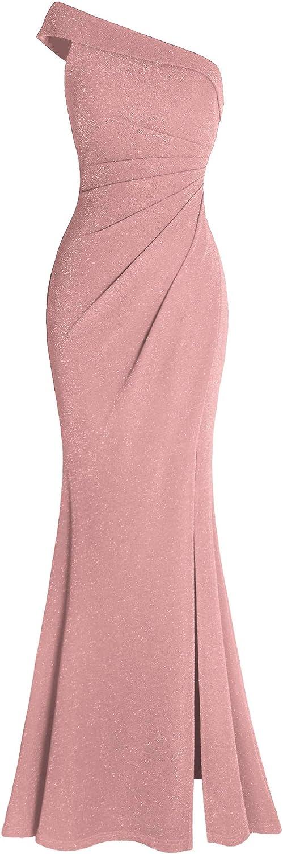Fazadess Women's Ruched One Shoulder Side Split Evening Party Dress