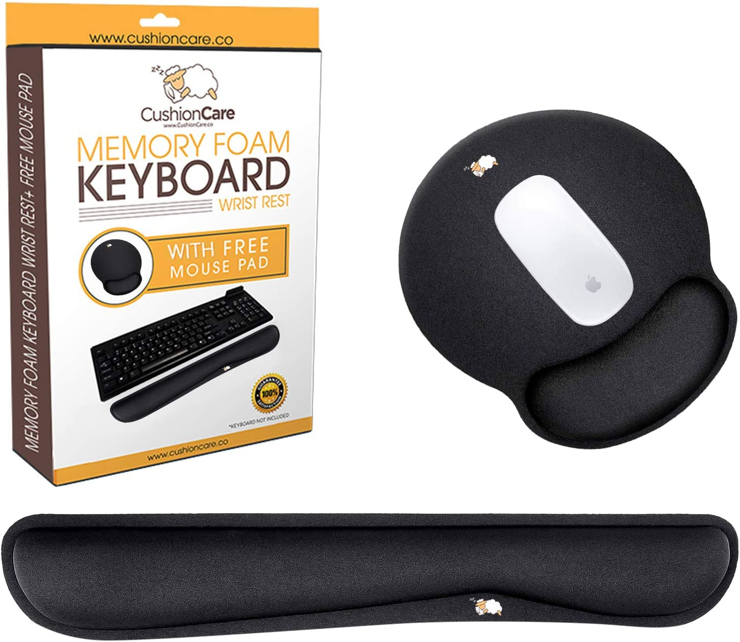Cushioncare Keyboard Wrist Rest with Mouse Pad - Padded with Memory Foam, Black - Wrist Support for Laptop Computer and Gaming - Guard Against Carpal Tunnel Syndrome