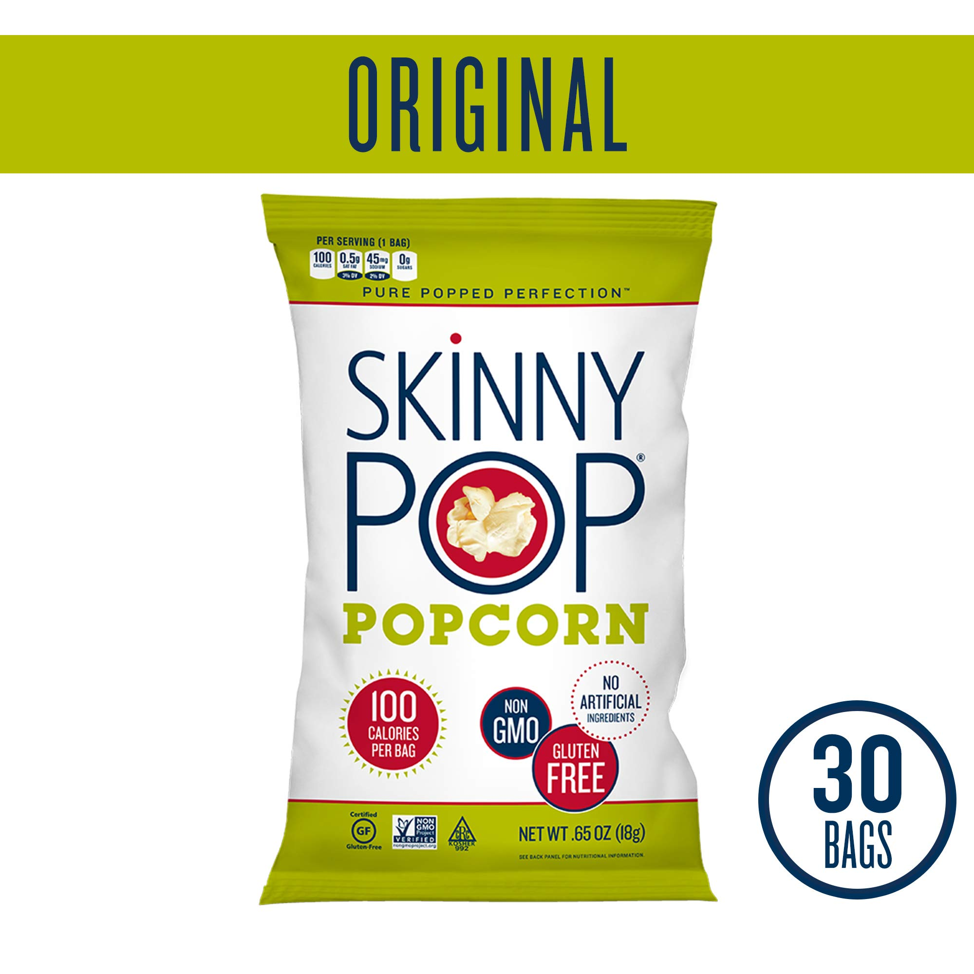 SKINNYPOP Original Popped Popcorn, 100 Calorie Bags, Individual Bags, Gluten Free Popcorn, Non-GMO, No Artificial Ingredients, A Delicious Source of Fiber, 0.65 Ounce (Pack of 30) by SkinnyPop
