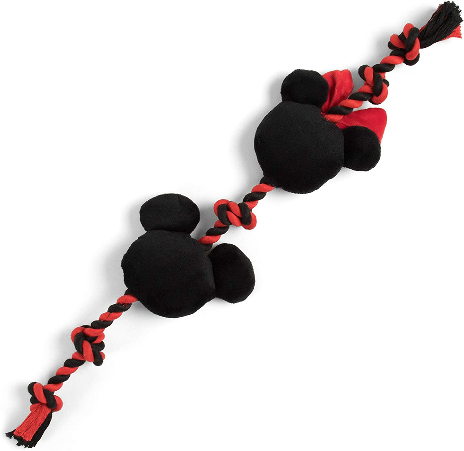 Disney Mickey and Minnie Sliding Rope Dog Chew Toy with Squeaker 17 Long