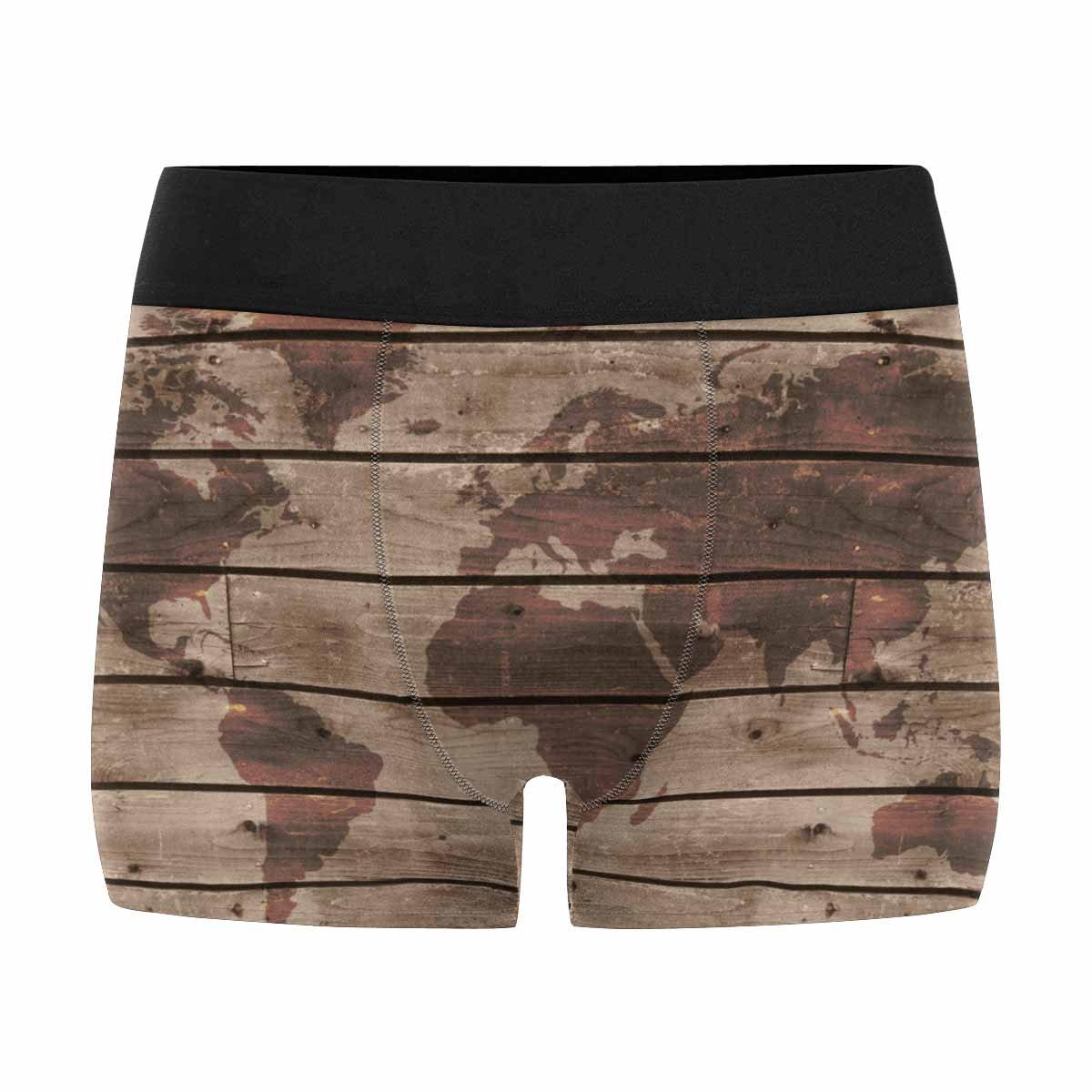 XS-3XL INTERESTPRINT Boxer Briefs Mens Underwear Old Wood Texture with World Map in Vintage Style