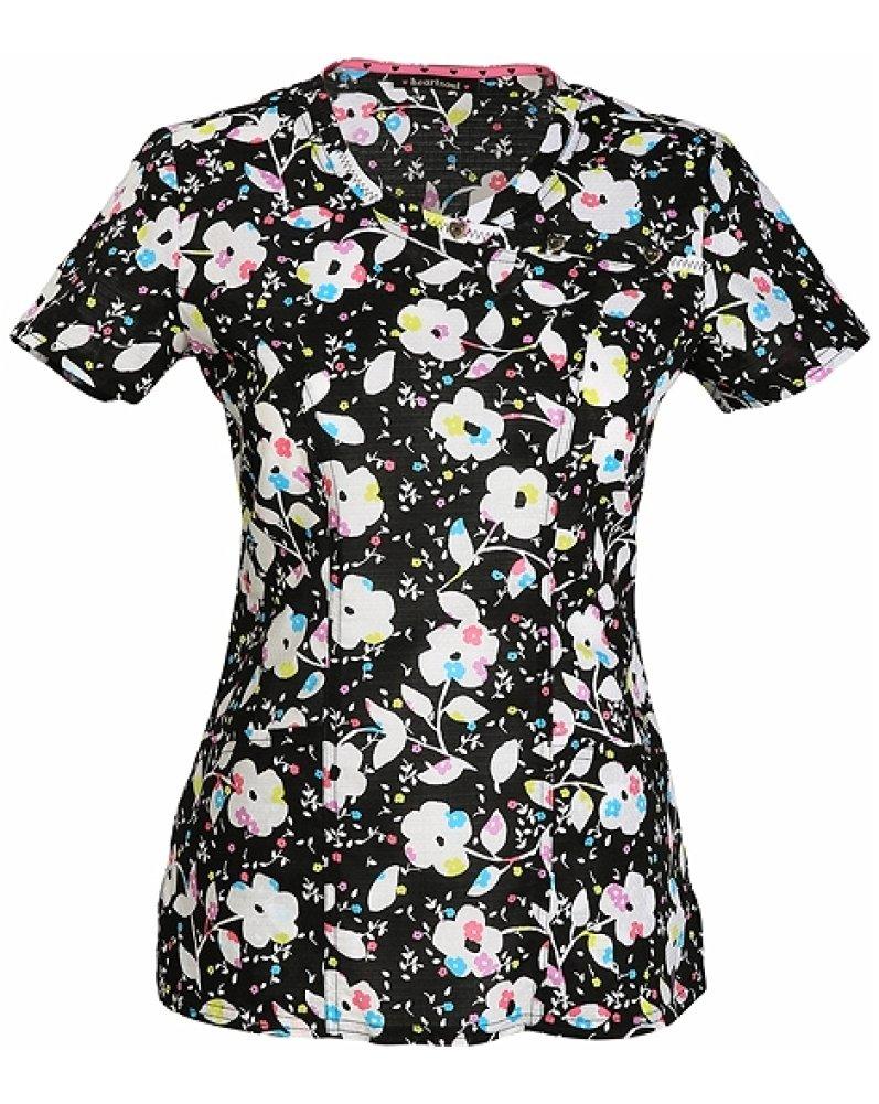 heartsoul Women's Mock Wrap Floral Print Scrub Top XX-Large Print