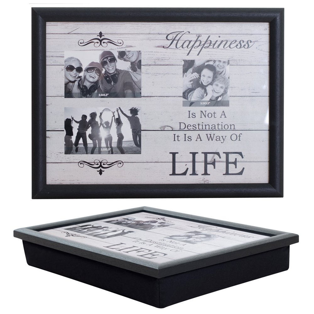 pack of 2 lap trays with a bean bag base photo frame laptrays add your own photos amazoncouk kitchen u0026 home