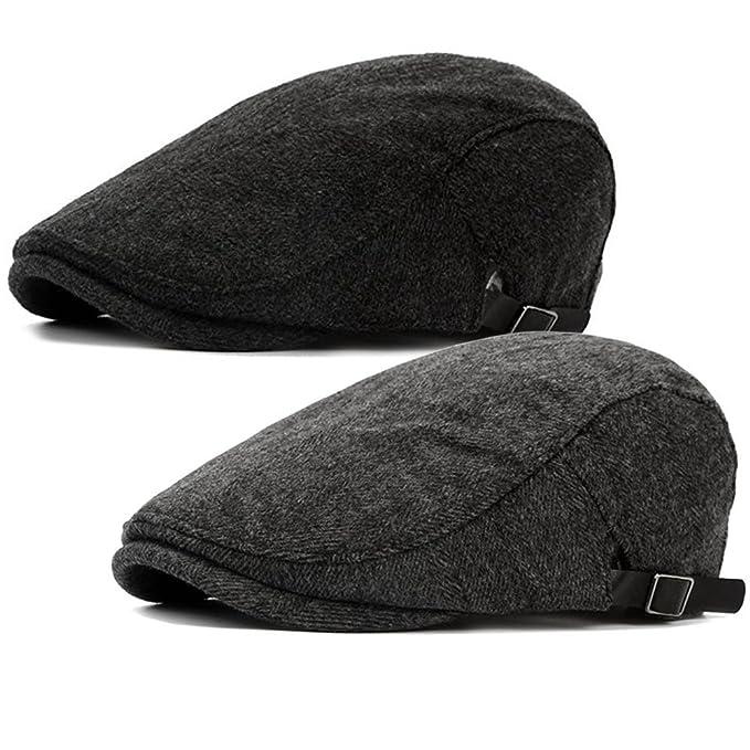 dabcd3f631edf 2 Pack Men s Warm Wool Tweed Blend Newsboy Flat cap Ivy Cabbie Driving  Winter Hat