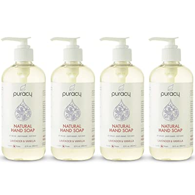 Puracy Natural Liquid Hand Soap, Sulfate-Free Hand Wash, Lavender and Vanilla, 12 Ounce Bottle