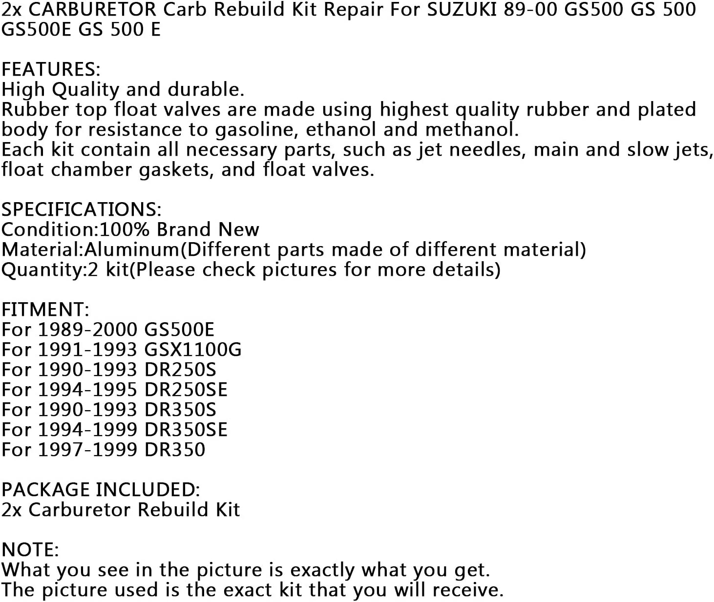 Topteng 2x Carburetor Carb Rebuild Repair Kit for Miku-ni BST 33 for B-M-W F650 Suzu-ki GS500E