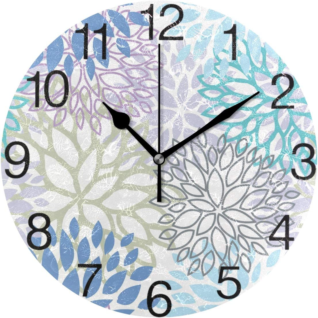 White Dahlia Round Wall Clock, Silent Non Ticking Oil Painting Decorative for Home Office School Clock Art, Blue Grey And Purple