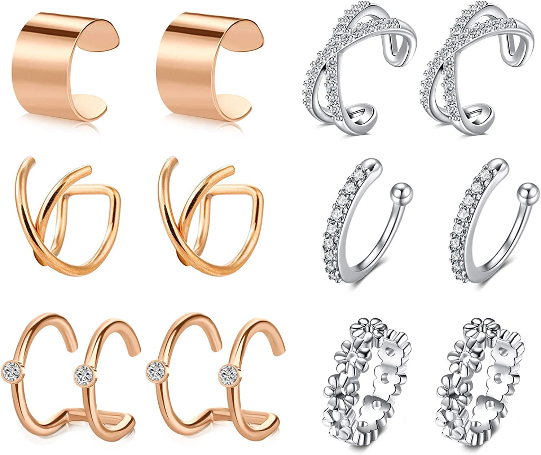 MODRSA Ear Cuff Earrings for Women Non Piercing Ear Hoop Earrings Stainless Steel Clip On Cartilage Earring Huggie Dainty Crossed Flower Minimal Conch Piercing Sparkling Jewelry Silver Rose Gold