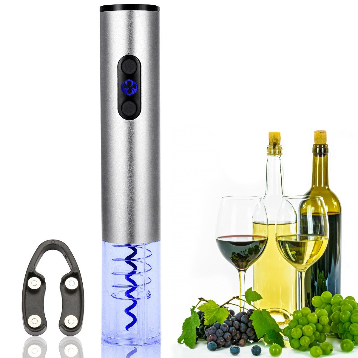 Godmorn Electric Wine Opener with Foil Cutter,Electric Corkscrew and Foil Remover,Stainless Steel,Rechargeable 110/220,Full Power Up to 80 Times Opens Osxuefuw GODMORNgjdklaks85