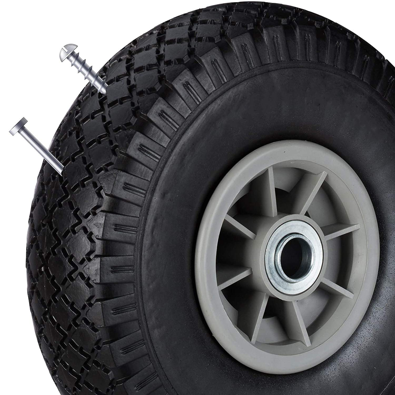 SAPOIGUANA sack cart wheel 360 x 75 mm up to 80 kg 3.50-8 inches puncture-proof solid rubber tires 20 mm axle black-gray