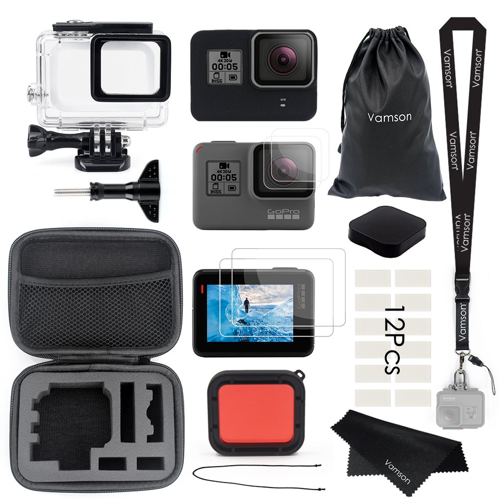 Vamson Accessories for GoPro Hero 6/5 Black Starter Kit Travel Case Small + Housing Case + Tempered Glass(2pcs) + Lens Cover + Silicone Protective Case for Go Pro Hero6 Hero5 Outdoor Sport Kit