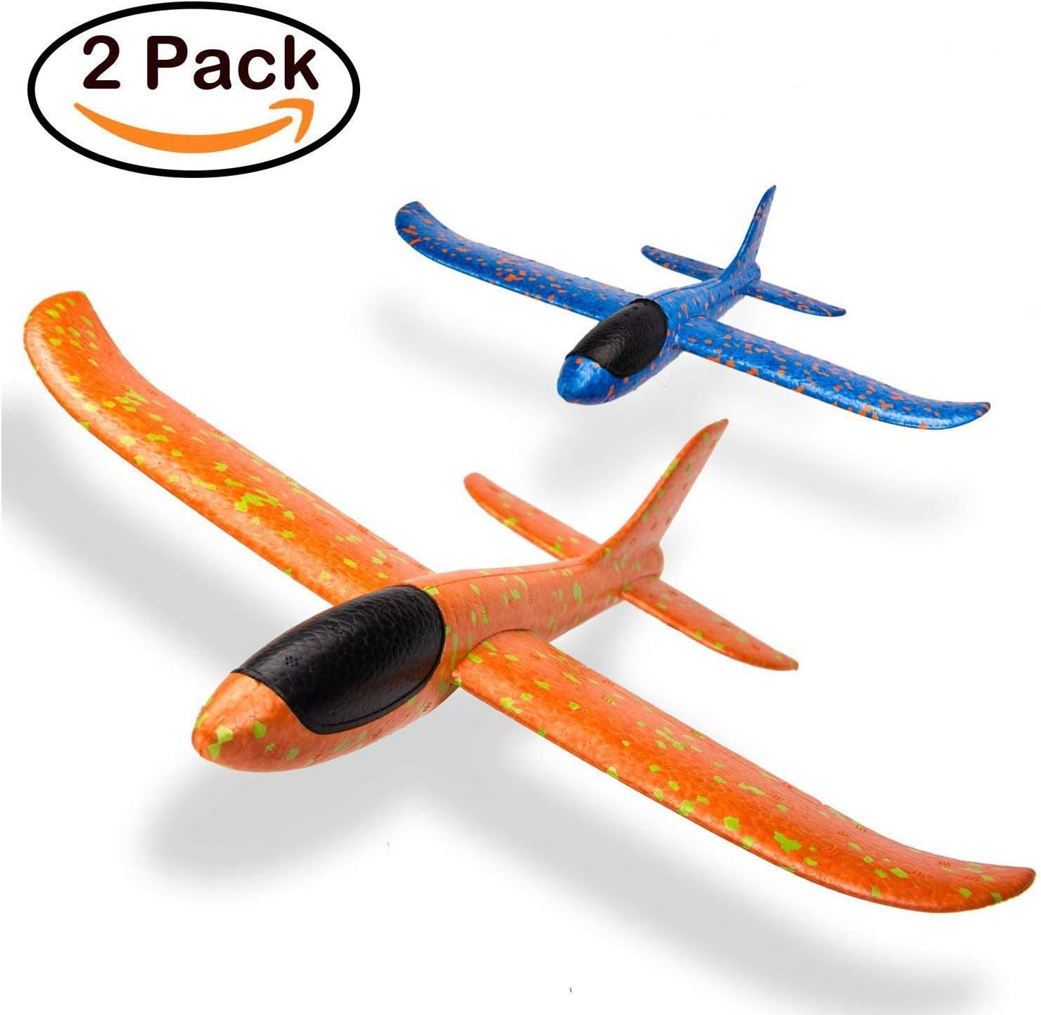 Paquete de 2 aviones manual del juego juguete divertido desafío modelo de avión de espuma de deportes al aire libre mejor para los niños (azul y naranja): Amazon.es: Juguetes y juegos