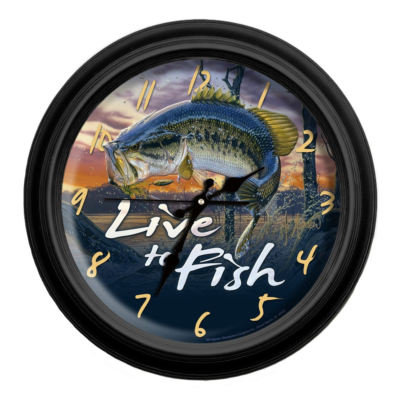 Reflective Art Live to Fish Classic Wall Clock, 16-Inch Reflective Art Inc 29067