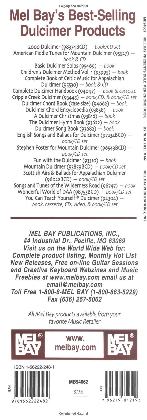 Mel Bay Dulcimer Chord Book Neal Hellman 9781562222482 Amazon
