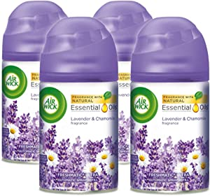 Air Wick Pure Freshmatic 4 Refills Automatic Spray, Lavender & Chamomile, Air Freshener, Essential Oil, Odor Neutralization, Packaging May Vary, 5.89 Ounce (Pack of 4)