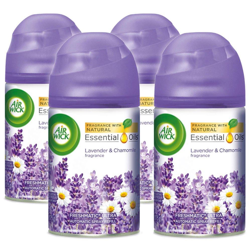 Air Wick Freshmatic 4 Refills Automatic Spray, Lavender & Chamomile, (4X6.17oz), Air Freshener