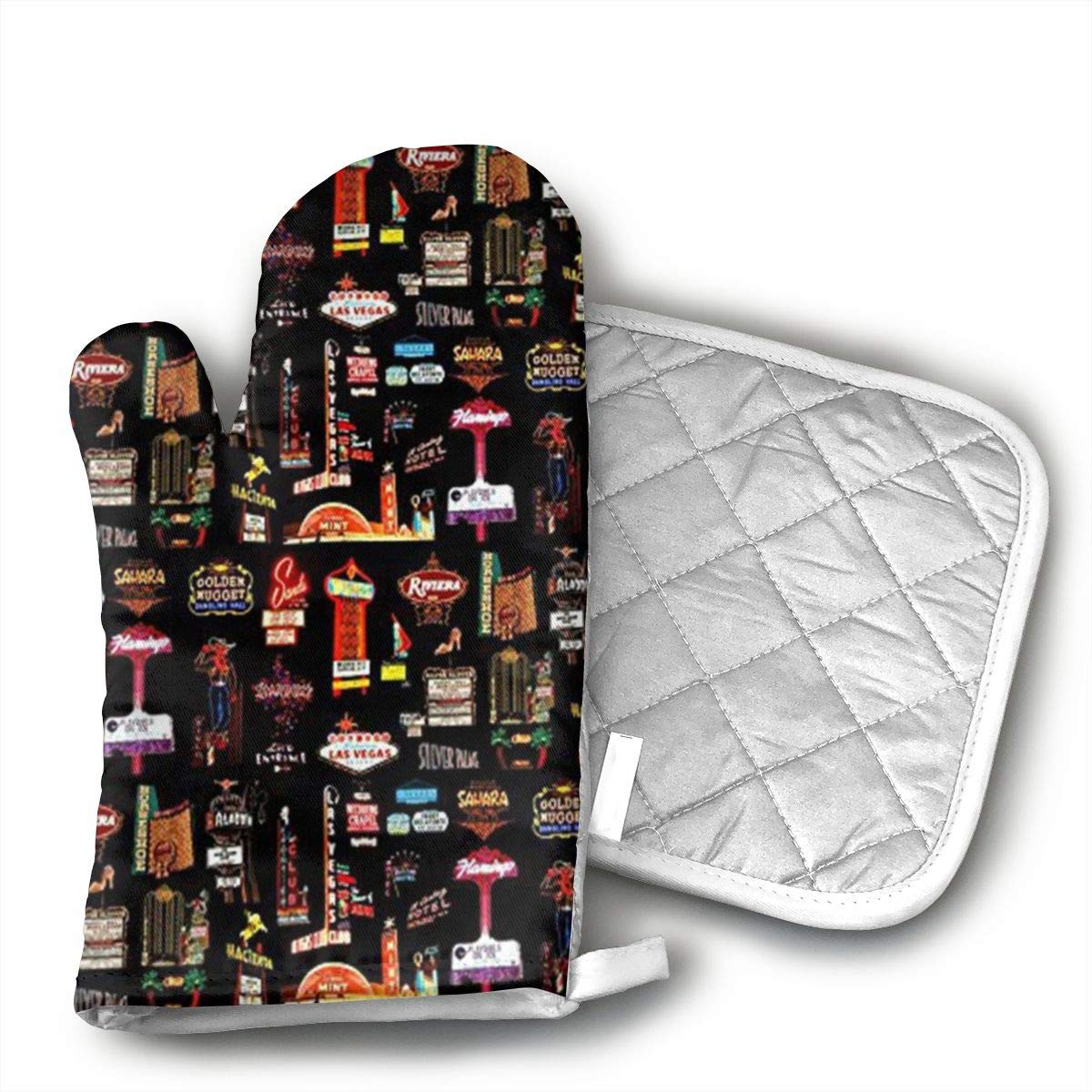 GNKJTYSK jfhgjd Las Vegas Heat-Resistant Polyester Cotton, Nylon Gloves and Pot Holder for Kitchen, Non-Slip Sleeve, 738 Sets Each, Oven Gloves for Barbecue Cooking