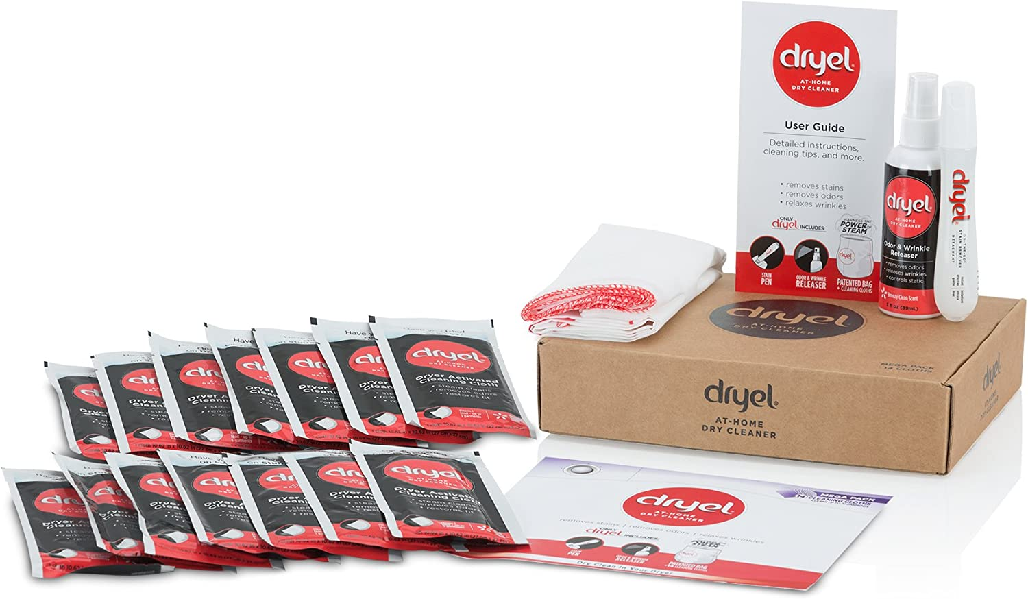 Dryel At-Home Mega Dry Cleaner Starter Kit, Includes Dry Cleaning Cloths and To-Go Stain Removal Pen - 14 Load Capacity