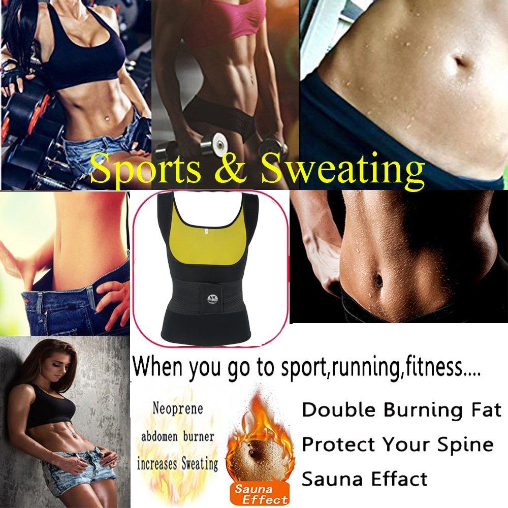 8f151500d3 Amazon.com  Neoprene Sauna Sweat Waist Trainer Vest Women Slimming Shirt Body  Shaper Waist Trimmer Belt  Clothing