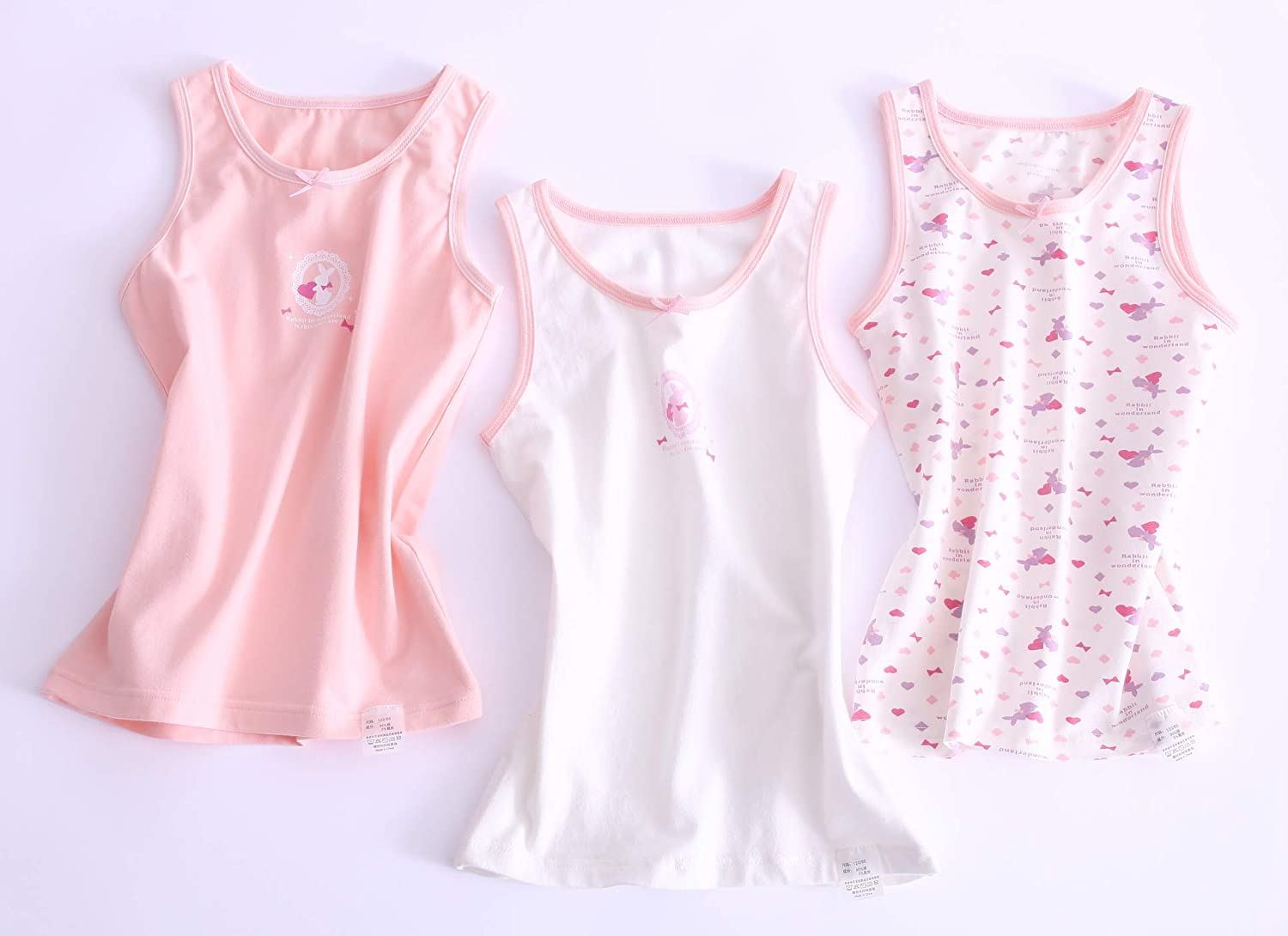 ABClothing Girls 3-Pack Cotton Cami Super Soft Tanks Butterfly Print Tagless