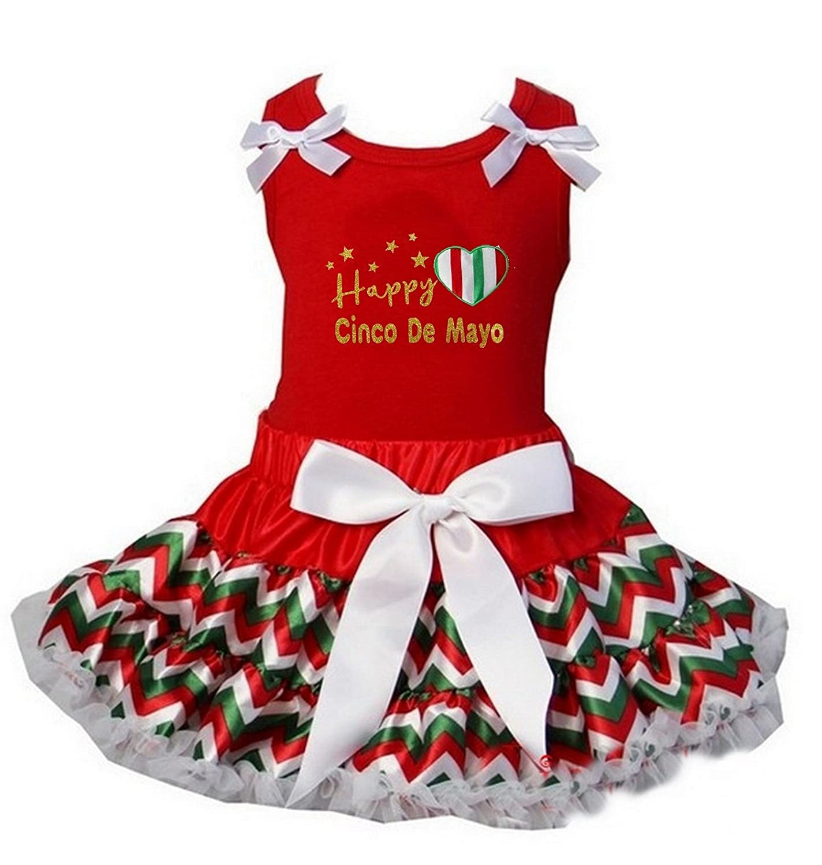 Kirei Sui Reversible Petite Pettiskirt /& Happy Cinco De Mayo Red Tee