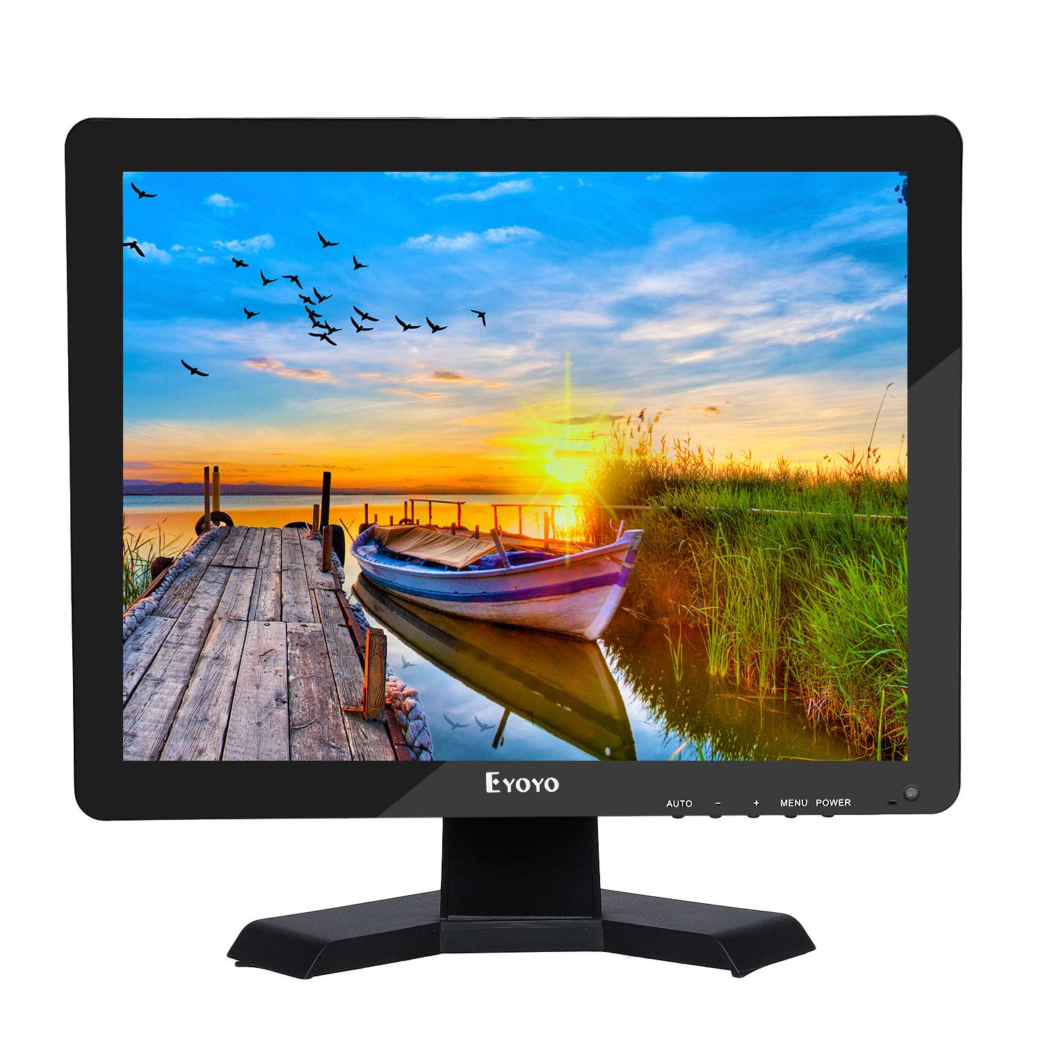 Eyoyo 15'' Inch Monitor 1024x768 HDMI Monitor 4:3 TFT LCD Color Screen with BNC/VGA/AV/HDMI/USB Earphone Output for PC Laptop Security Monitoring Built-in Speaker by Eyoyo (Image #1)