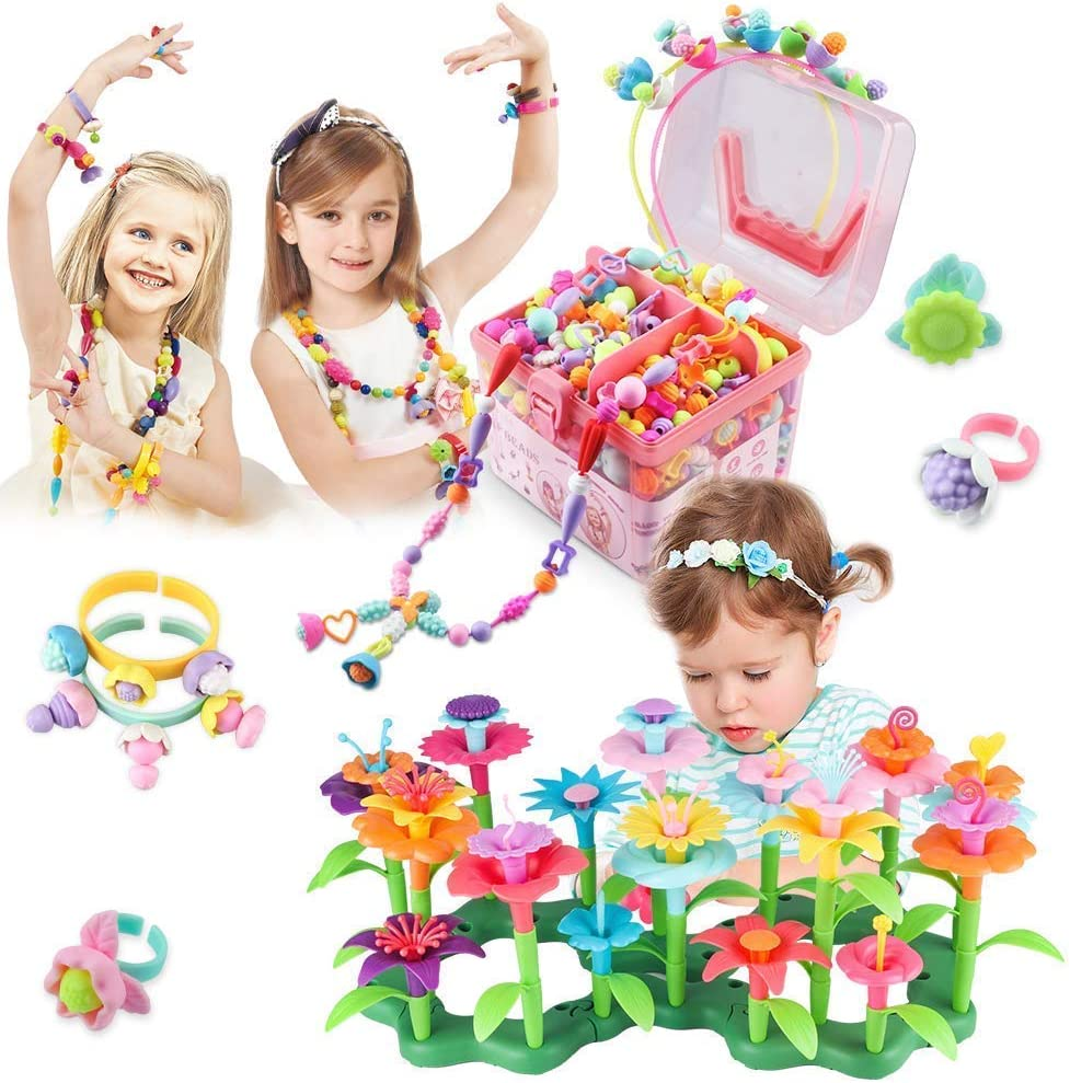 CENOVE Flower Building Toy Set Bundle with Pop Beads, Jewelry Making Kit ,Girls Toys Age 3-6 Year Old Toddler (Pack of 2)