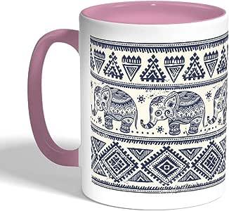 Traditional decoration - Draw an elephant Printed Coffee Mug, Pink Color