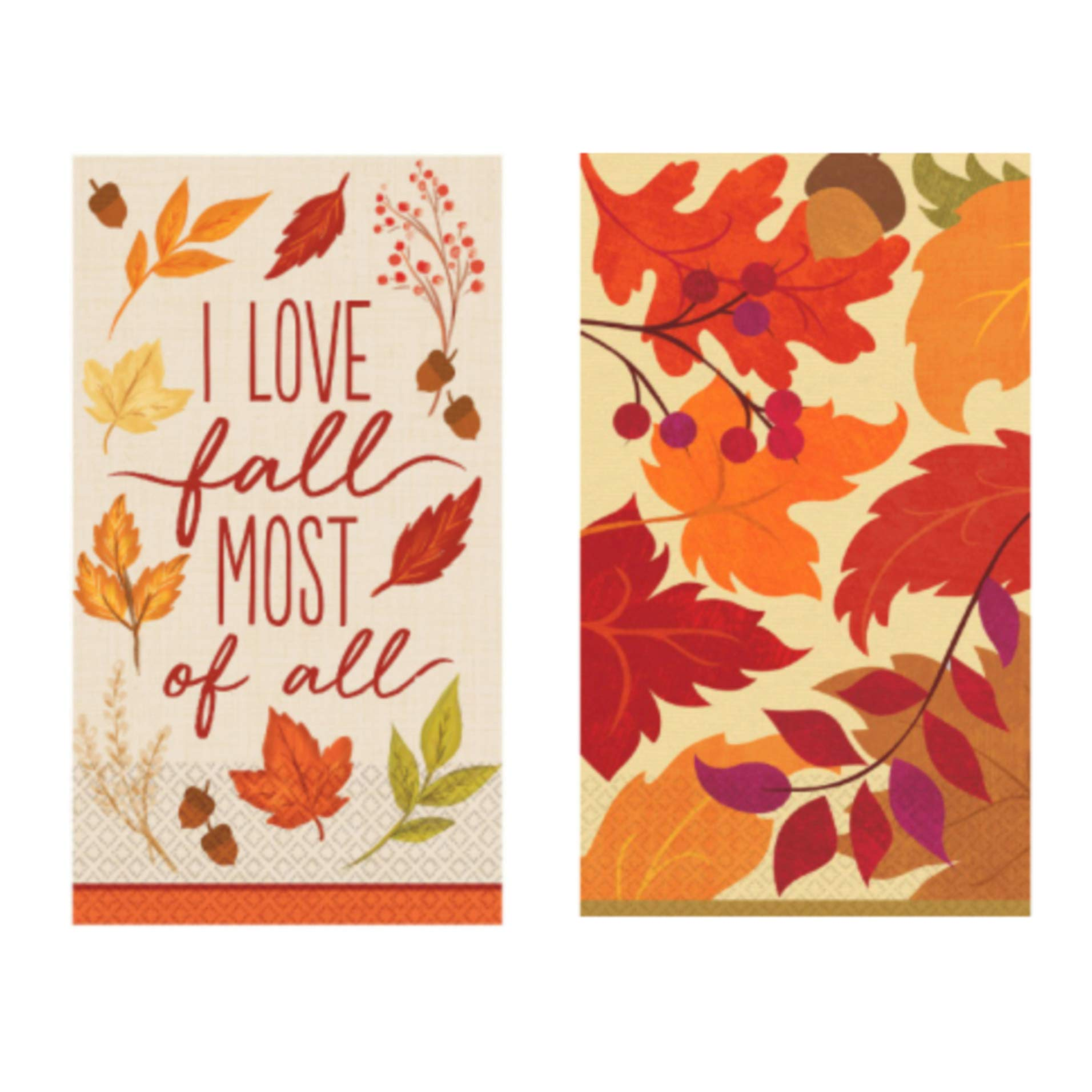 Disposable Fall Guest Towels Paper Napkins for Bathroom, Set of 2 Packages of 16 (Fall Foliage/Festive Fall) by RLT-Home
