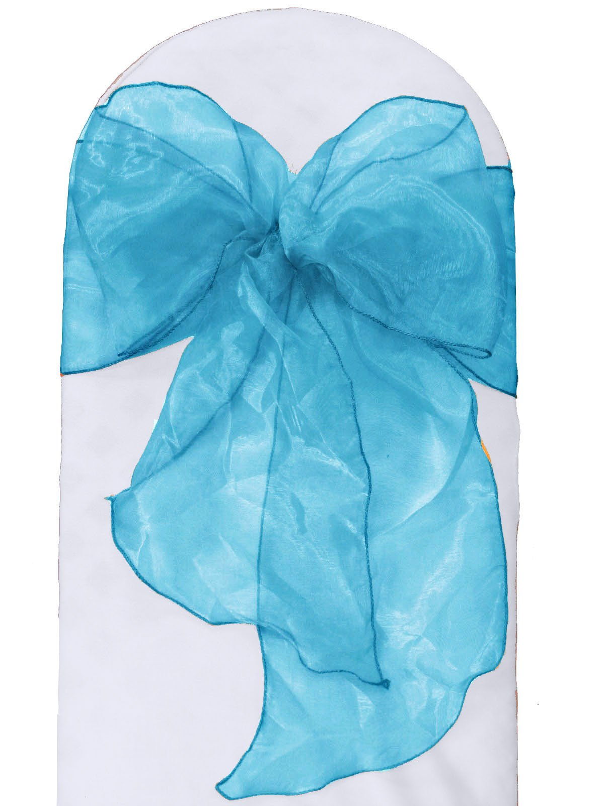 LA Linen Organza Sashes Chair Bows, Turquoise, 100-Pack
