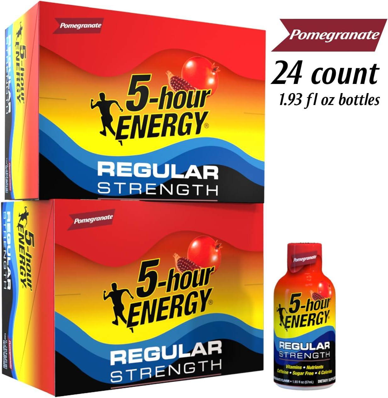 5-hour ENERGY Shot, Regular Strength, Pomegranate, 1.93 Ounce, 24 Count