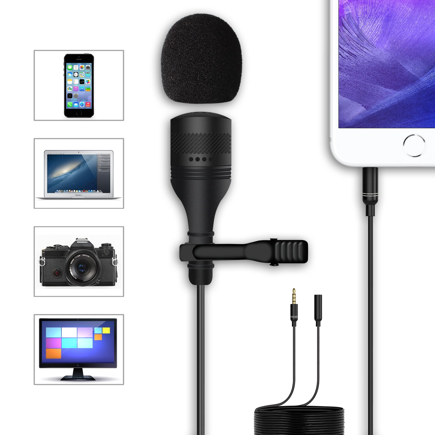 Anoak Professional Level Lavalier Microphone, Crystal Clear Lapel Mic for iPhone, Smartphone/DSLR Camera/Laptop, PC Computer/Recorder - Noise Canceling