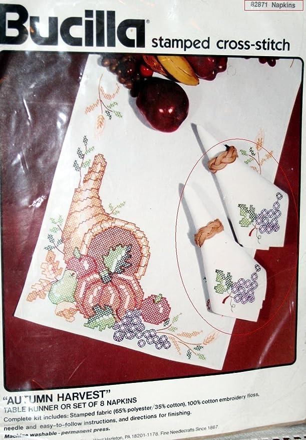 Amazon Autumn Harvest Set Of 8 Napkins Vintage Bucilla