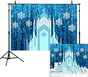Allenjoy 7x5ft Frozen Castle Backdrop Winter Ice Princess Snowflake Blue Sequin Curtain Photography Background Girl Birthday Baby Shower Party Supplies Home Decor Cake Table Banner Photo Booth Prop