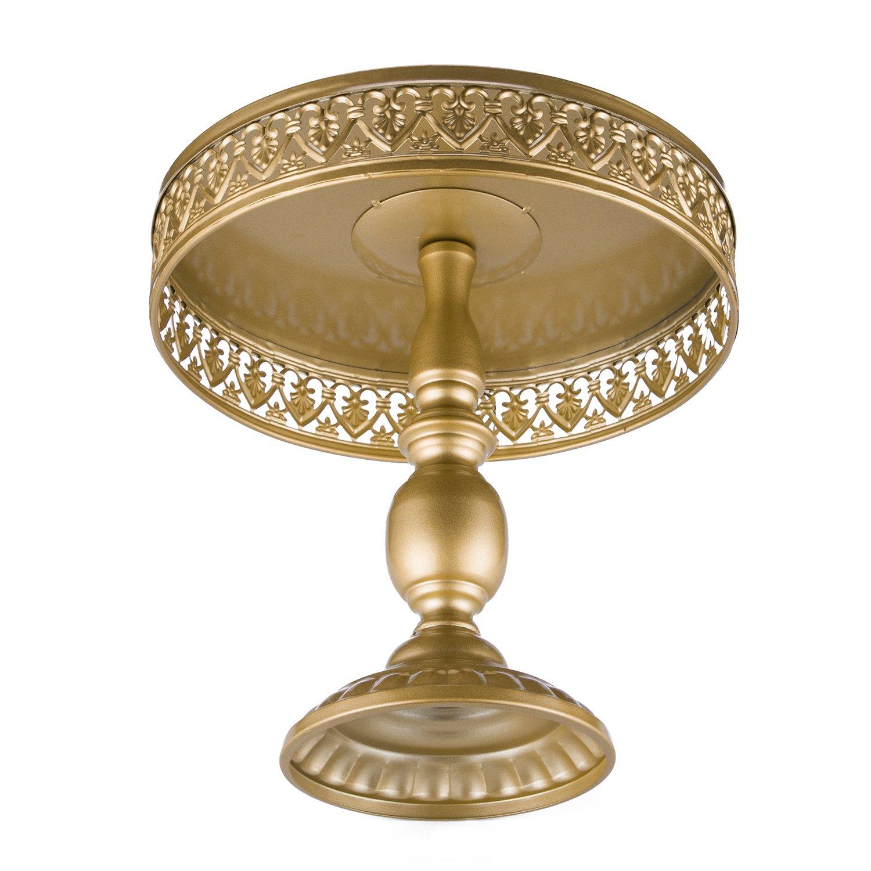 18K Gold Antique Metal Cake Stand, Round Cupcake Stands, Wedding Birthday Party Dessert Cupcake Pedestal/Display/Plate (UM-HB-CAKE STAND-12)