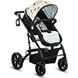 Pavo Italia Luxury 600D Linen Stroller Cum Carry Cot with One-Touch Braking System (Blue, 6-36 Months)