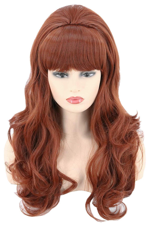 Topcosplay 80s Women Peg Bundy Beehive Wigs Long Wavy Brown Big Red Wig  Halloween Costume Wigs