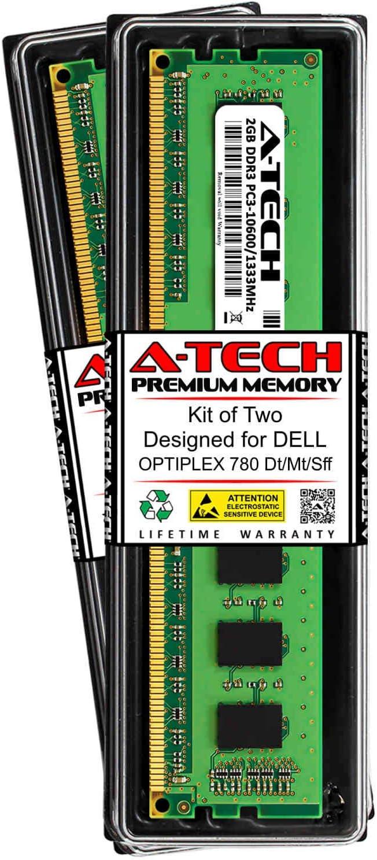 A-Tech 4GB (2 x 2GB) RAM for DELL OPTIPLEX 780 DT/MT/SFF | DDR3 1333MHz DIMM PC3-10600 240-Pin Non-ECC UDIMM Memory Upgrade Kit