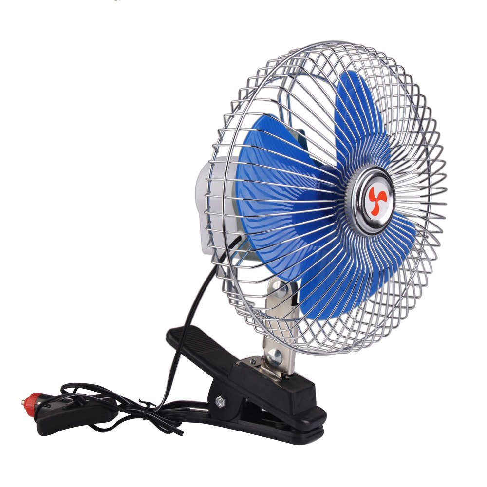 WinnerEco 8 Inch 12V Car Oscillating Fan Vehicle Auto Car Fan Car Cooling Fan with Clip Cigarette Lighter Plug