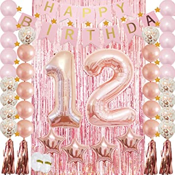 HuBalon 12th Birthday Decorations Party Supplies Rose Gold for  Girls,Confetti Latex Balloon,Foil Mylar Star,Tassel Garland,Tinsel Foil  Fringe