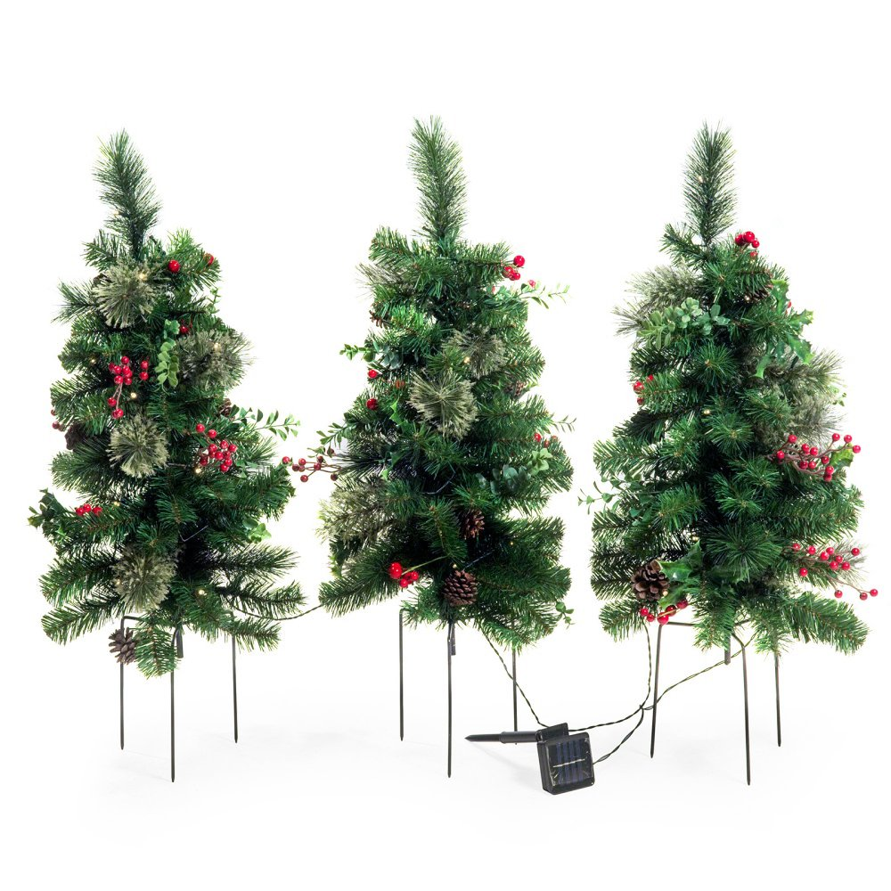 Solar Outdoor Pre-lit Christmas Tree Set of 3 Garden Entryway Decoration 2 ft. Trees with Pine Cones Berries Accents and Three-Pronged Stake
